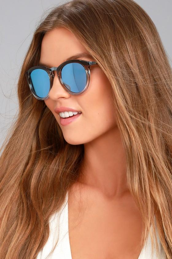 795ca7cc10 Le Specs No Smirking - Ombre Frame Sunglasses - Blue Mirrored Sunglasses