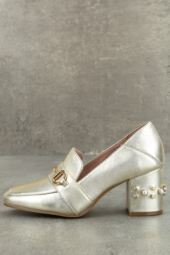371119785bf Steven by Steve Madden Layla Gold Leather Block Heels