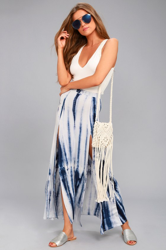 Shore to Adore Blue Tie-Dye Maxi Skirt 1
