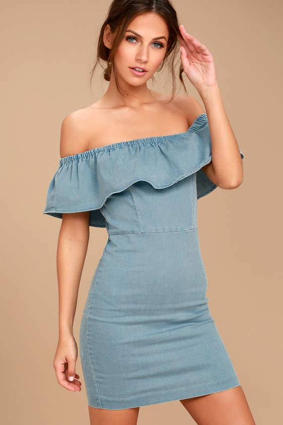 bce8d29b93f13 Light Blue Denim Dress - Off-the-Shoulder Dress - OTS Dress