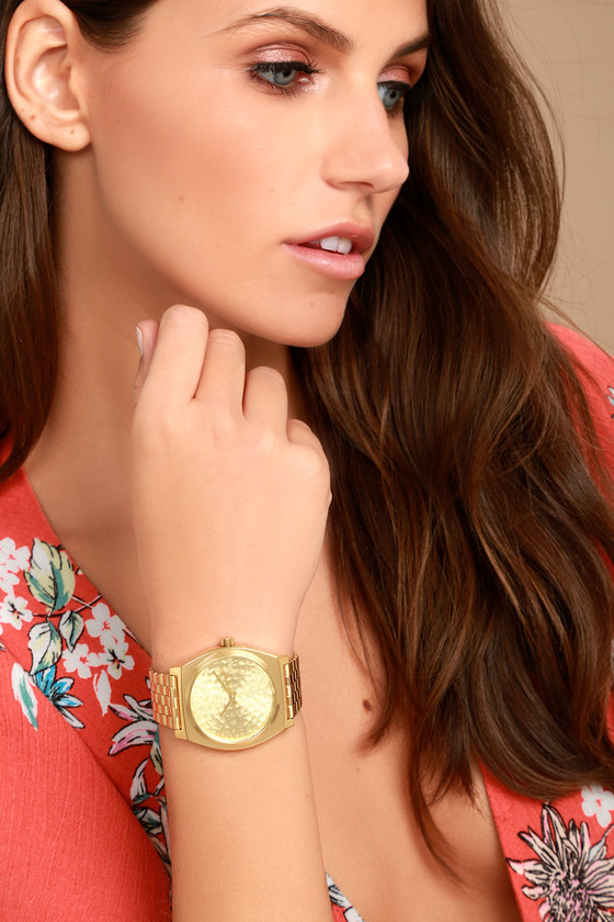 Nixon Time Teller Gold Hammered Watch 1