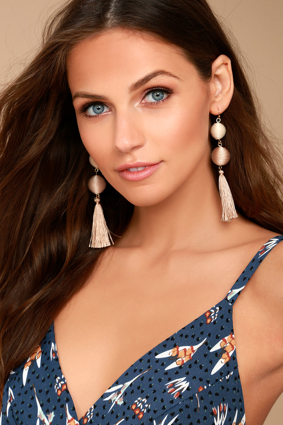 Palamino Beige Tassel Earrings 1