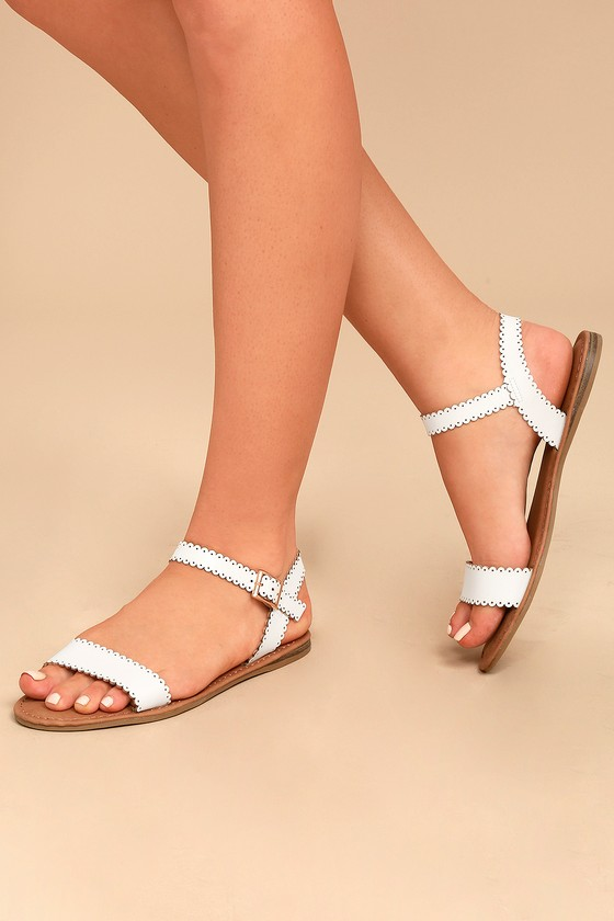 Cute White Flat Sandals - Scalloped Sandals - White ...