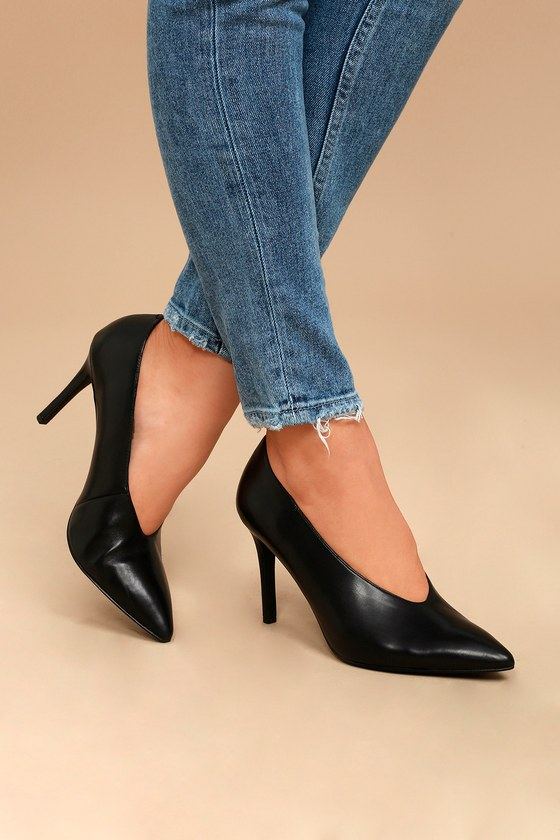 Steven by Steve Madden Aiken Black Leather Pointed Pumps 4