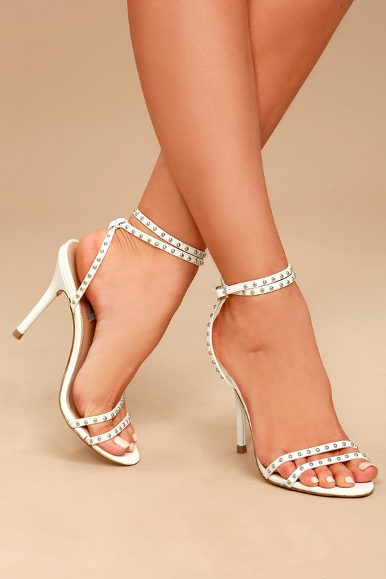 83c56afa317 Steve Madden Wish White Leather Studded Ankle Strap Heels