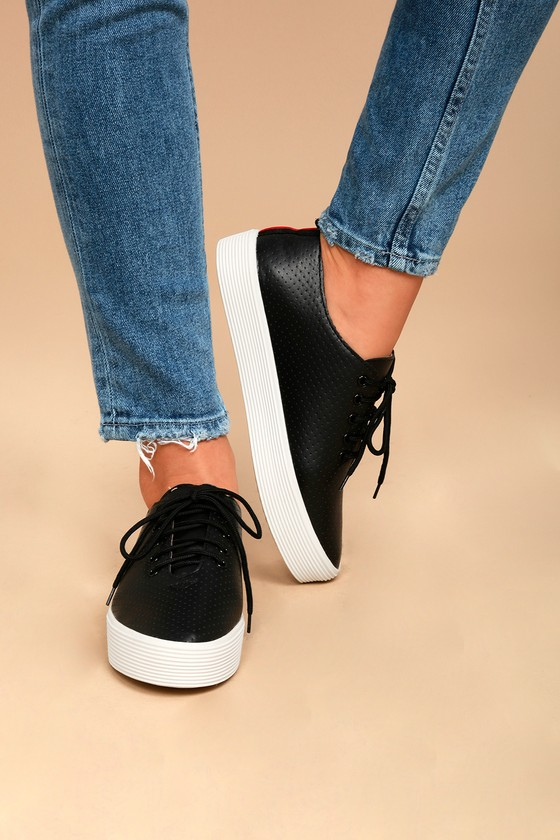 Avery Black Perforated Flatform Sneakers 4
