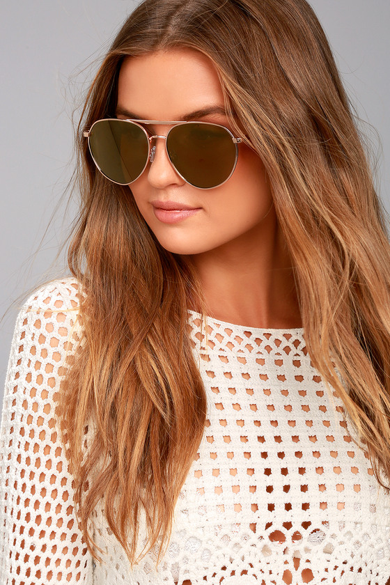 True Gem Gold Mirrored Aviator Sunglasses 3