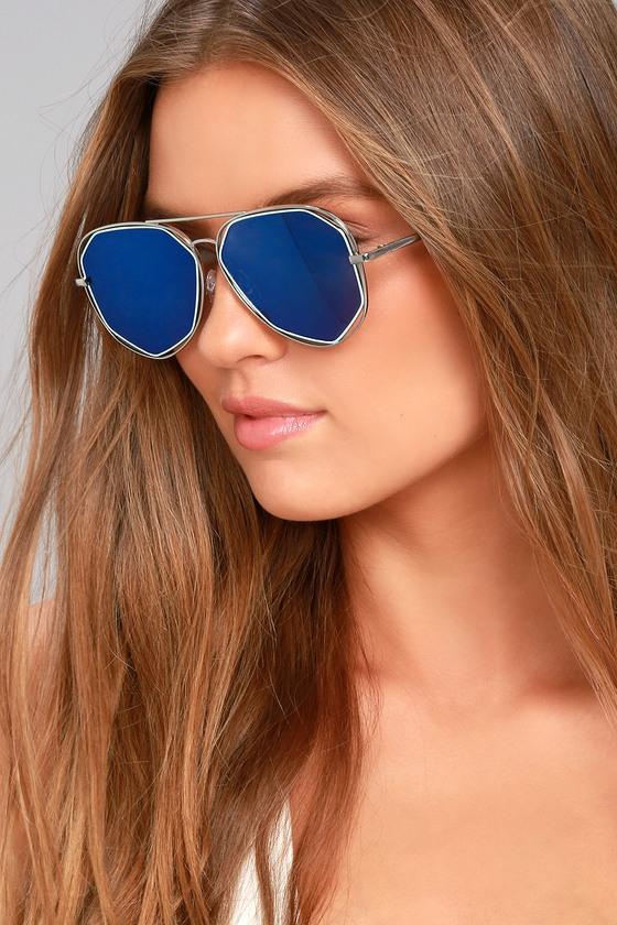 8c50cff93553 Trendy Aviator Sunglasses - Blue Mirrored Sunglasses - Silver Sunglasses -  $15.00