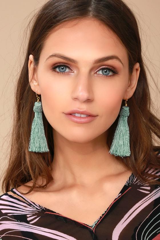 Temptress Sage Green Tassel Earrings 1