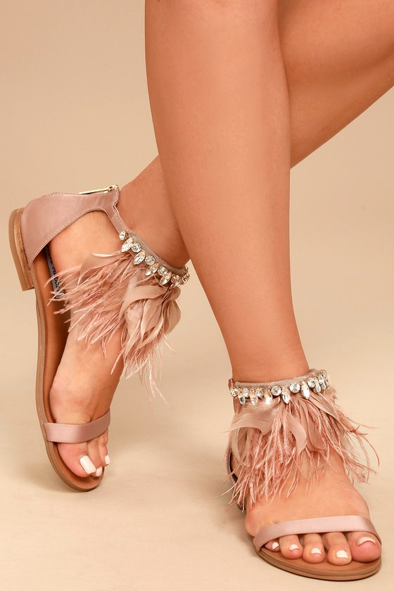 Steve Madden Adore Blush Feather and Rhinestone Sandals 4