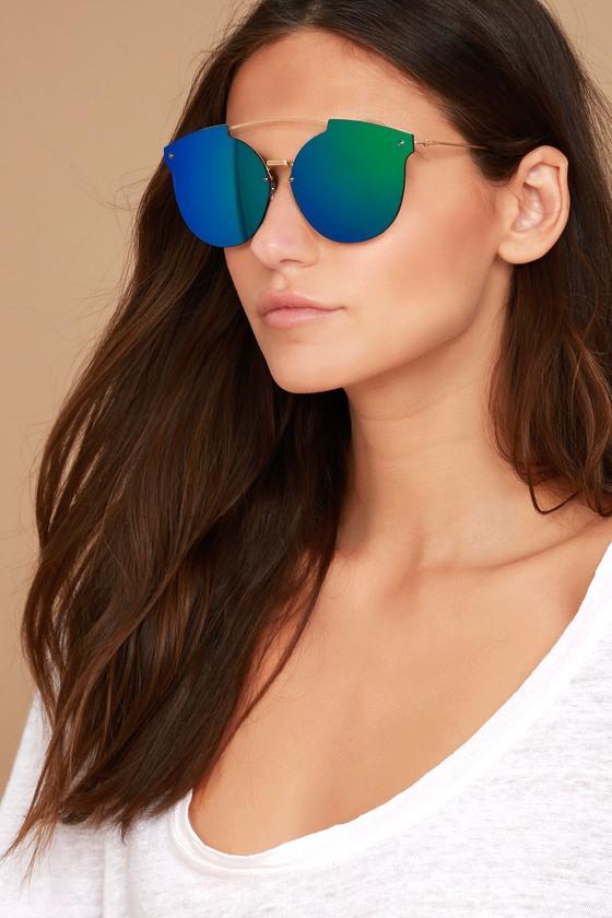 613ee65ef815 Unique Gold Sunglasses - Green Mirrored Sunglasses - Aviator Sunglasses -   15.00