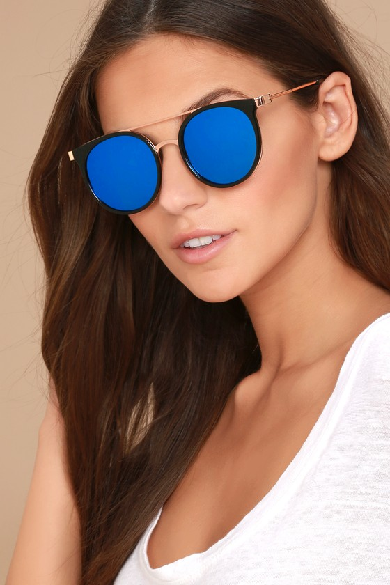 Out of This World Black and Blue Mirrored Sunglasses 3