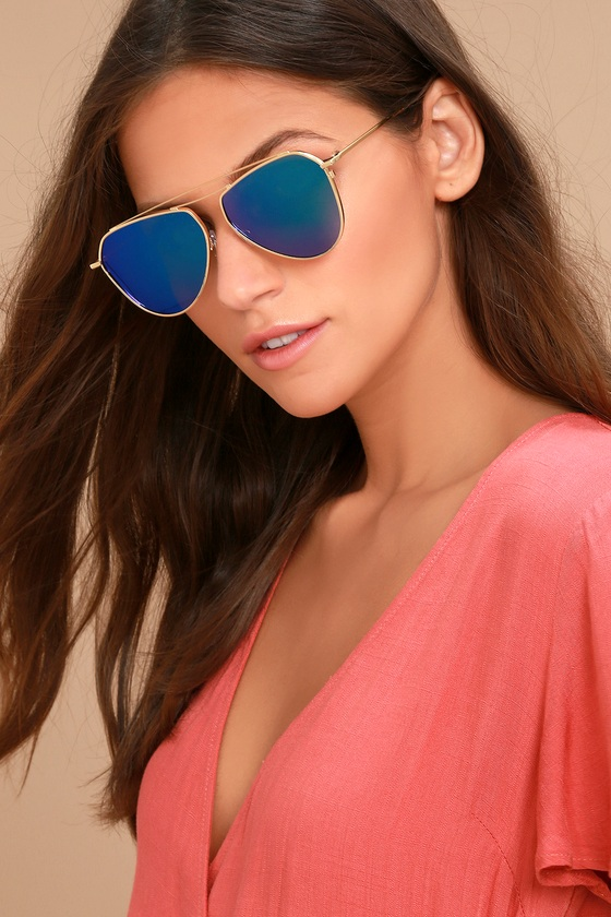 Keep Dancing Gold and Green Mirrored Aviator Sunglasses 3