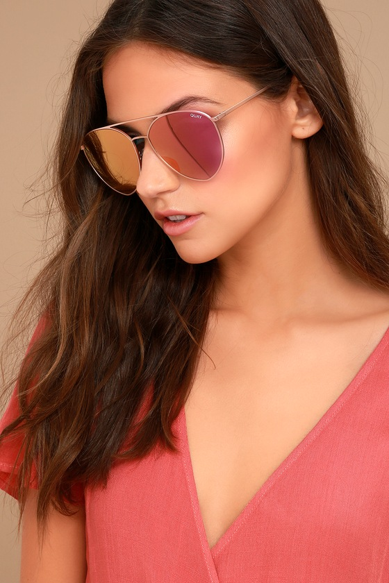 Quay Indio Gold and Pink Aviator Sunglasses 3