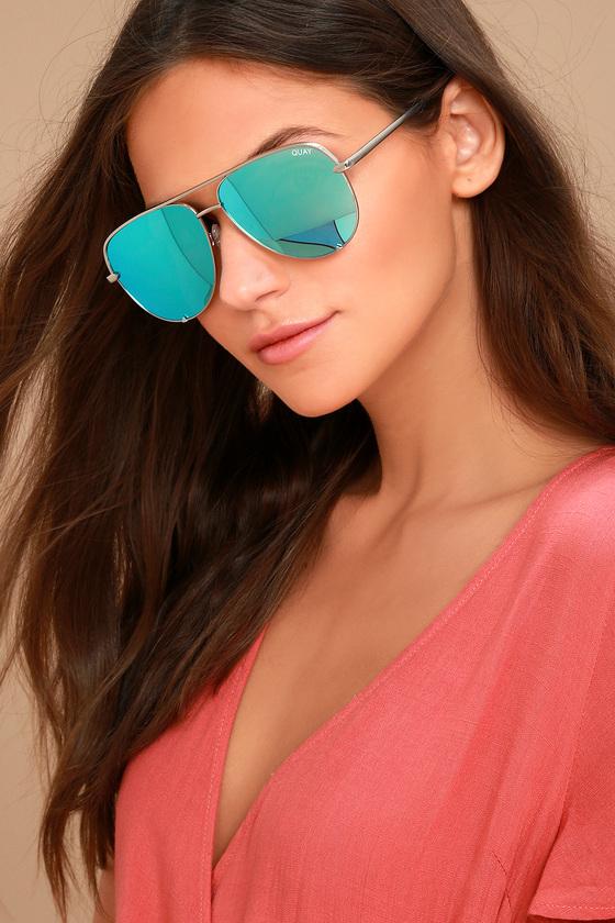 685255a1c29 Quay High Key Sunglasses - Silver Aviator Sunglasses - Blue Mirrored  Sunglasses