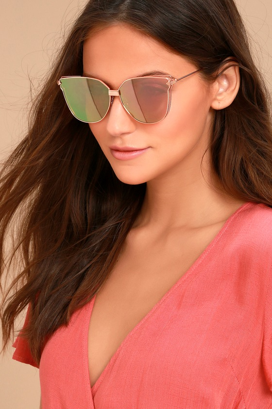 Bright Lights Rose Gold and Pink Mirrored Sunglasses 1