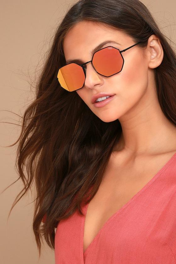 f3c262a36af Quay On a Dime Sunglasses - Geometric Sunglasses - Pink Sunglasses - Mirrored  Sunglasses