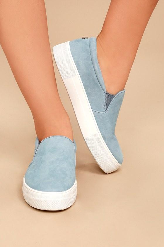 e43735806220 Steve Madden Gills Light Blue Suede Leather Slip-On Sneakers