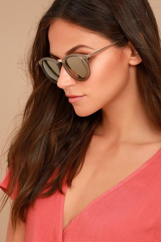 57e22cc74ef Le Specs No Smirking - Matte Grey Sunglasses - Gold Sunglasses