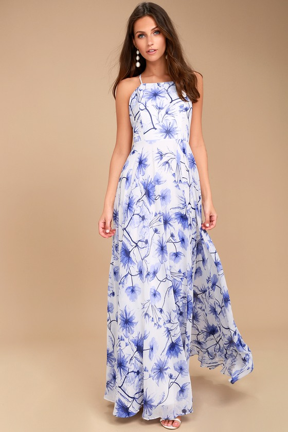 Eternal Joy Blue Floral Print Maxi Dress 5