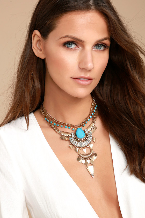 Free Spirit Blue and Gold Layered Necklace 1