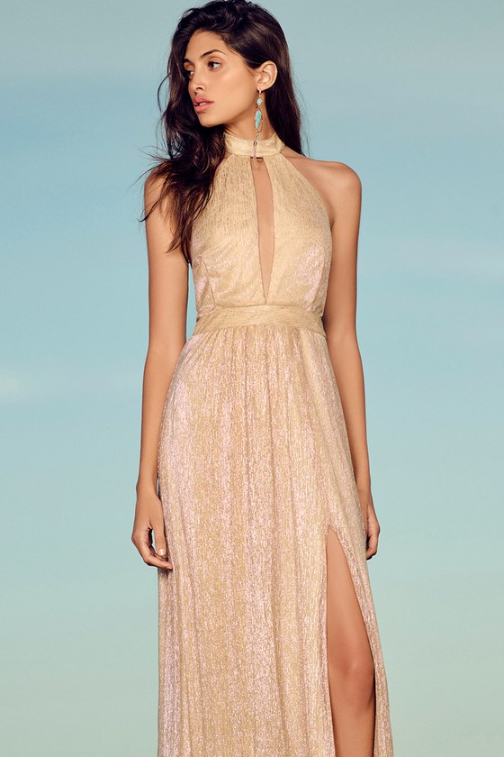 e854f58859 Stunning Gold Maxi Dress - Halter Maxi Dress - Shimmery Maxi Dress - Gold  Halter Dress