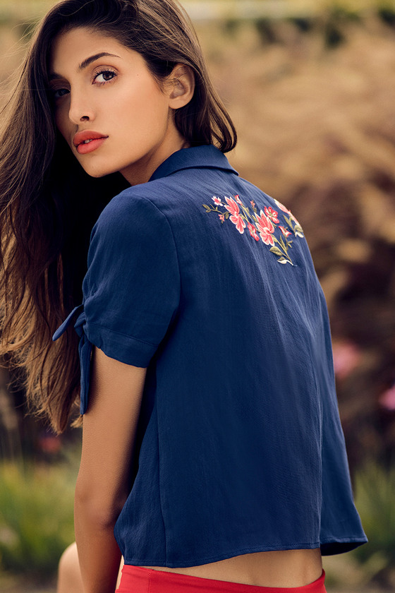 Awesome Blossom Navy Blue Embroidered Crop Top 5
