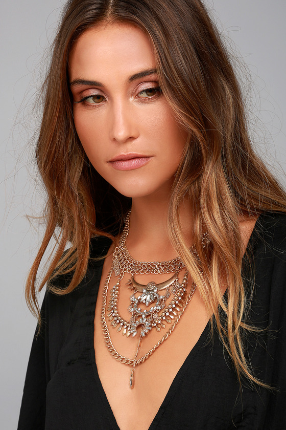 Boho Bounty Gold Rhinestone Layered Statement Necklace 3