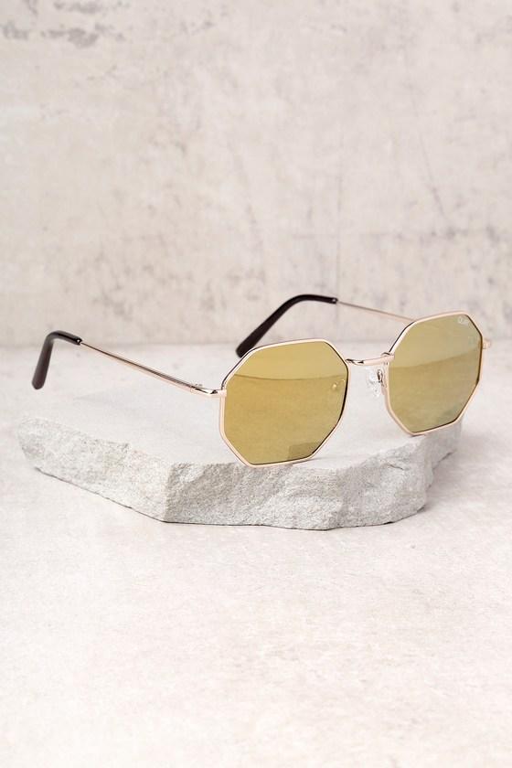 2c649da55a5 Quay On a Dime Sunglasses - Geometric Sunglasses - Gold Sunglasses ...
