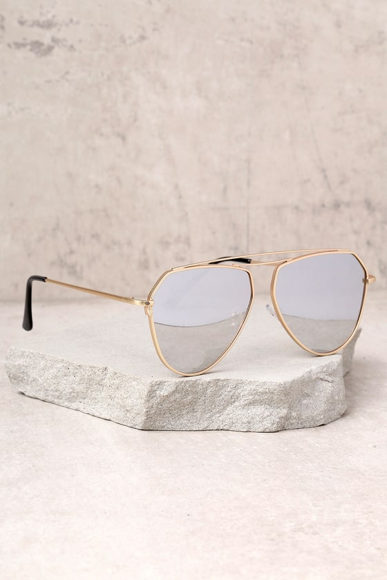 a6253c70c8 YHF Los Angeles Chloe Matte Gold and Silver Mirrored Sunglasses
