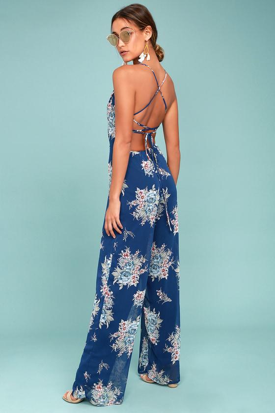 Shea Navy Blue Floral Print Jumpsuit