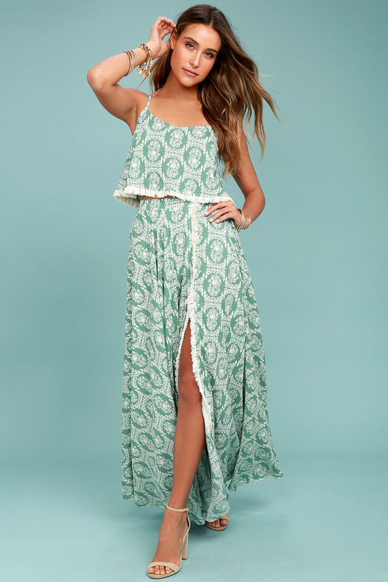 Here in Heaven Sage Green Floral Print Maxi Skirt 1