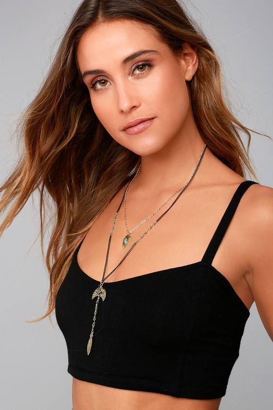 Arrow Expert Black and Gold Layered Necklace 3