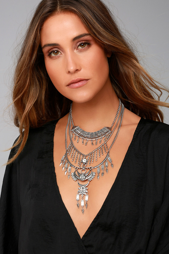 Gypsy Dreams Silver Layered Statement Necklace 3