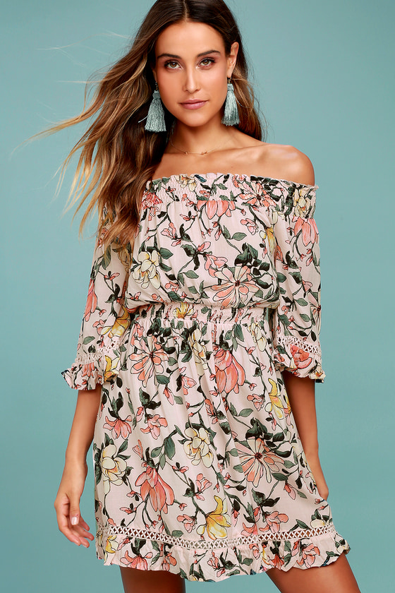 Hello, Darling Blush Pink Floral Print Off-the-Shoulder Dress 2