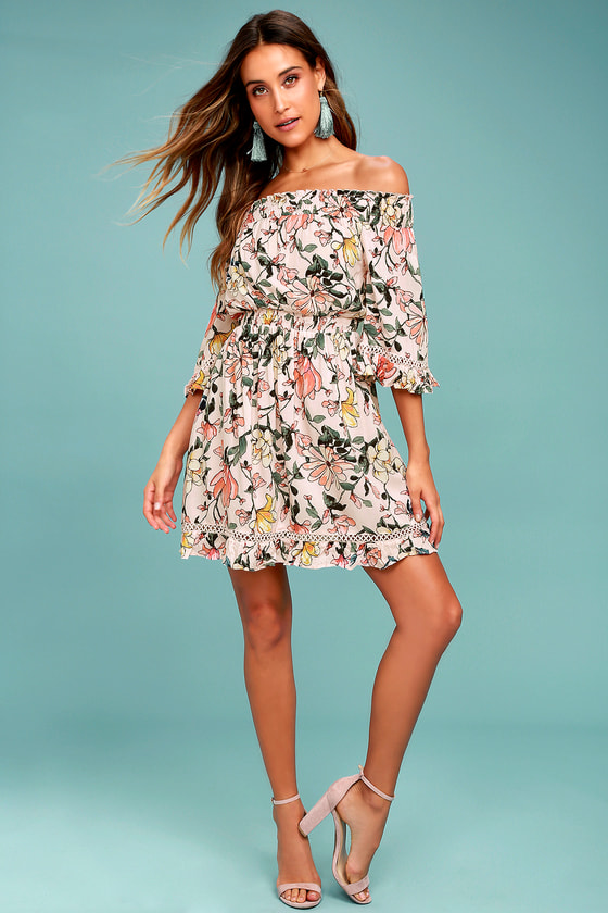 6abd34aedc5 Hello, Darling Blush Pink Floral Print Off-the-Shoulder Dress