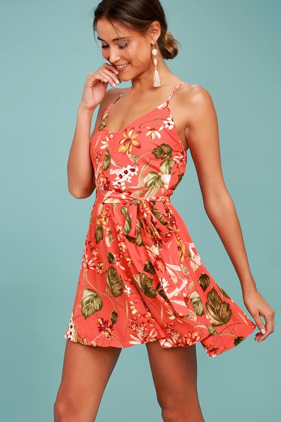 74e9d6b4c3d5 Lovely Rusty Rose Dress - Floral Print Dress - Skater Dress