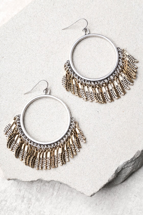 Plume Gold and Silver Hoop Earrings 2