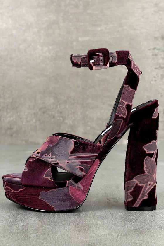 Steve Madden Jodi Burgundy Velvet Platform Ankle Strap Heels 1