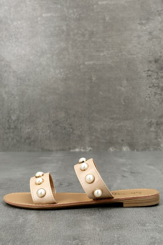 Cute Slide Sandals - Pearl Sandals - Nude Sandals