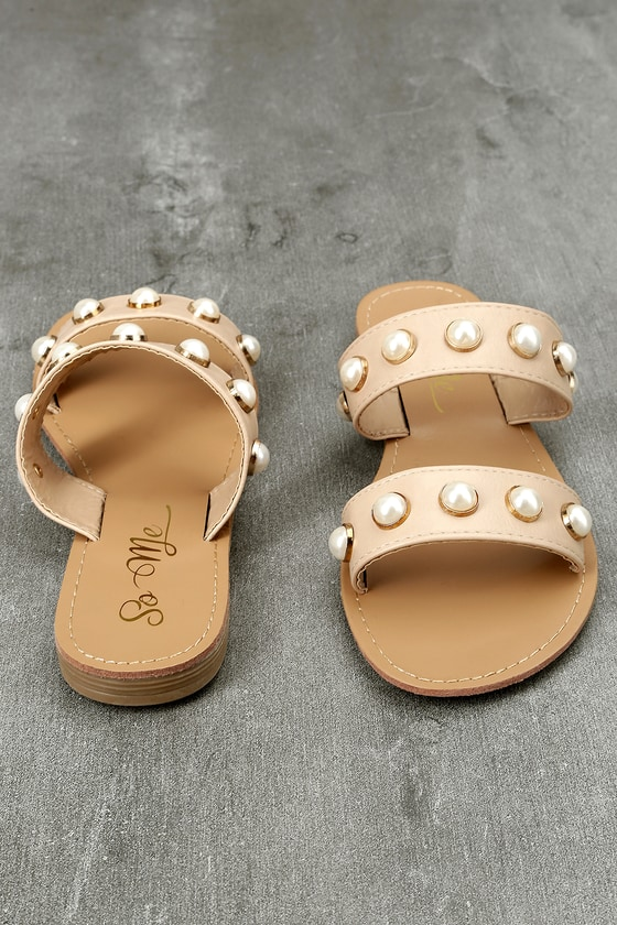 So Me Xandra Nude Pearl Slide Sandals