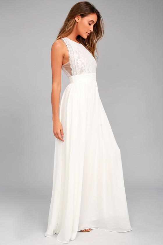 5e87adb9cf66d Lovely White Dress - Floral Lace Dress - Maxi Dress