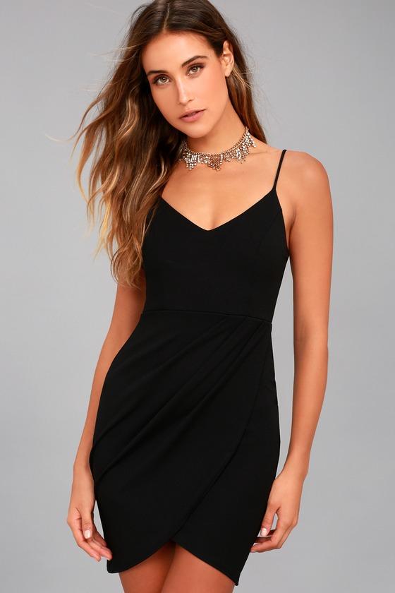 Sexy Black Dress - Bodycon Dress - LBD - Wrap Dress 7cc093f2b