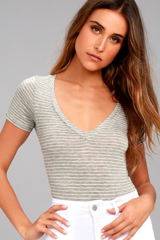 Charming Chance Heather Grey Striped Bodysuit 4
