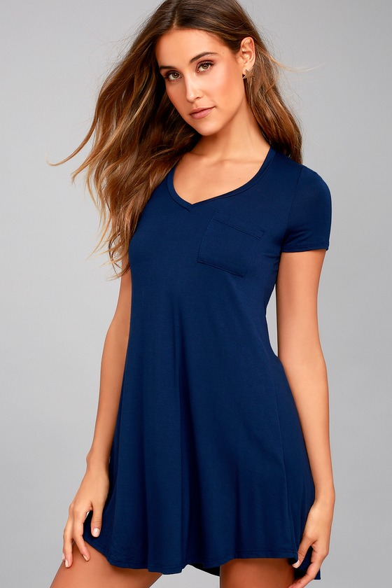 Better Together Navy Blue Shirt Dress 1
