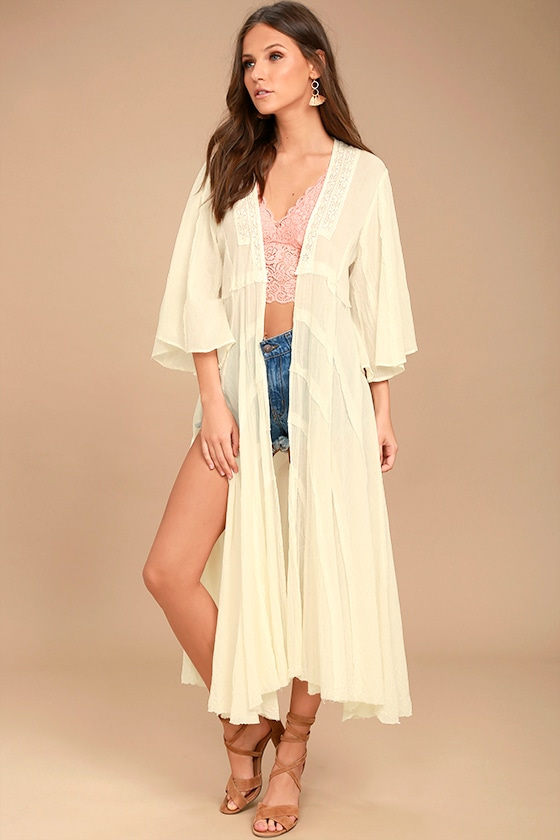 Free People Curved - Curved Gauze Duster Cardigan - Lace Kimono Top