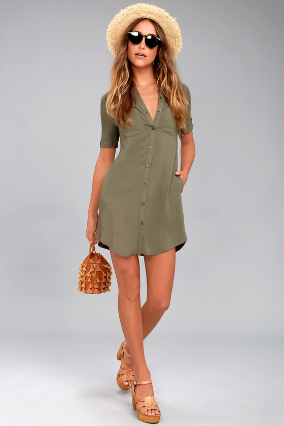 f868b85b Cute Olive Green Dress - Button-Up Shirt Dress - Collared Dress