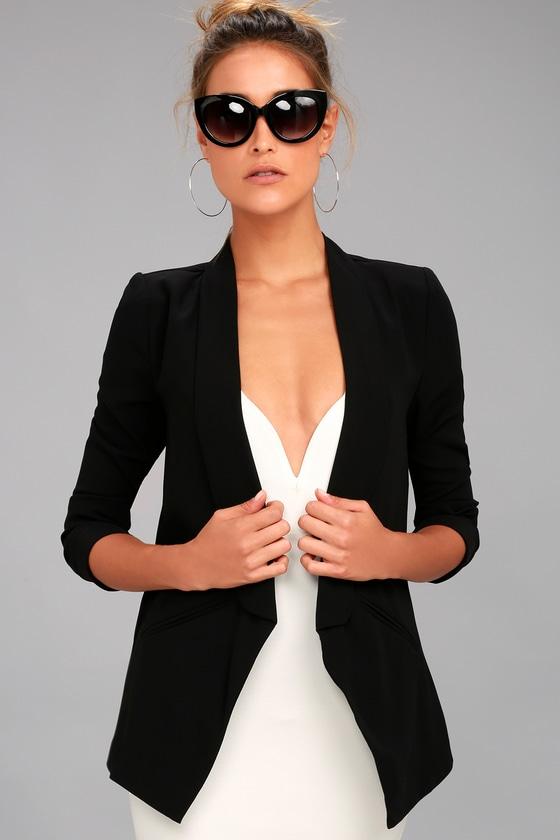 Cute Black Blazer Office Blazer Tuxedo Blazer