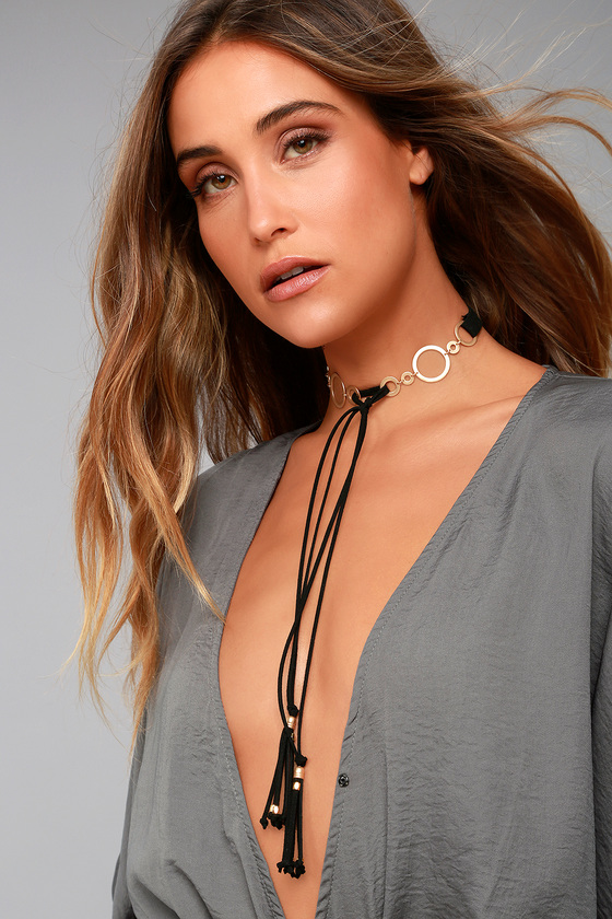 Every Beat of My Heart Black and Gold Choker Necklace 3