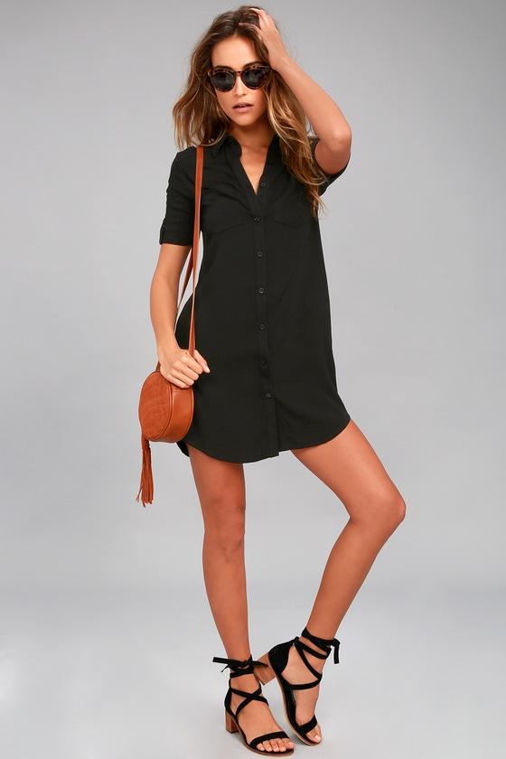 502c26e19e Cute Black Dress - Shirt Dress - Button-Up Dress